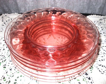 Vintage French Farmhouse Set of Six Pink Elegant Pattern Glass Dessert Salad Luncheon Plates Antique 1920s Victorian Cottage