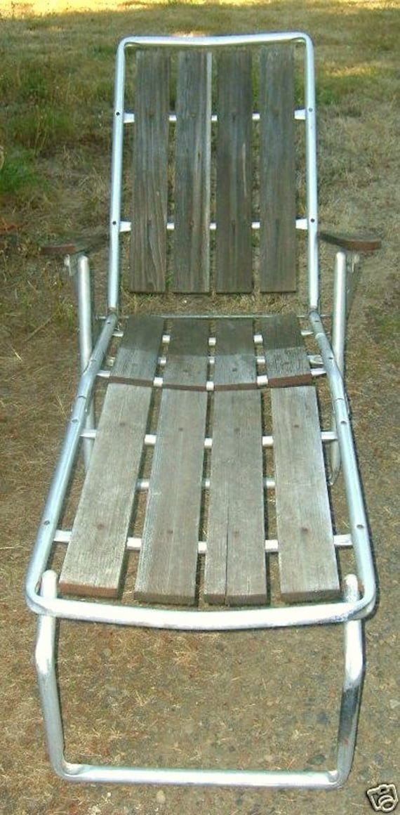 Vintage Eames era Industrial Mid Century Modern Retro 1960s Aluminum and Teak Wood Weathered Folding Lawn Beach Patio Chaise Lounge Chair