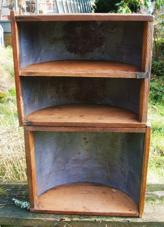 Antique 1880s pine wood and tin primitive dough table bin drawer - country shelf or planter - repurpose architectural salvage shelf units