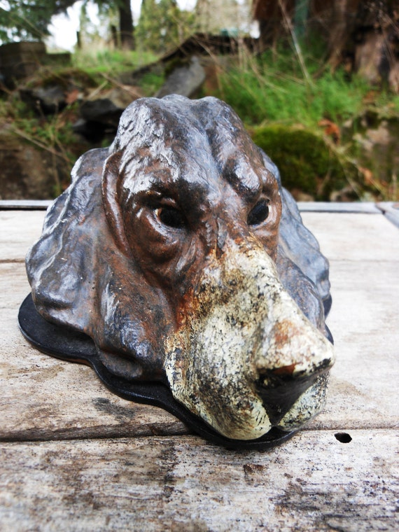 Vintage 1930's large Antique Cold painted Iron Spaniel Dog paper Letter Memo Desk clip Note Holder