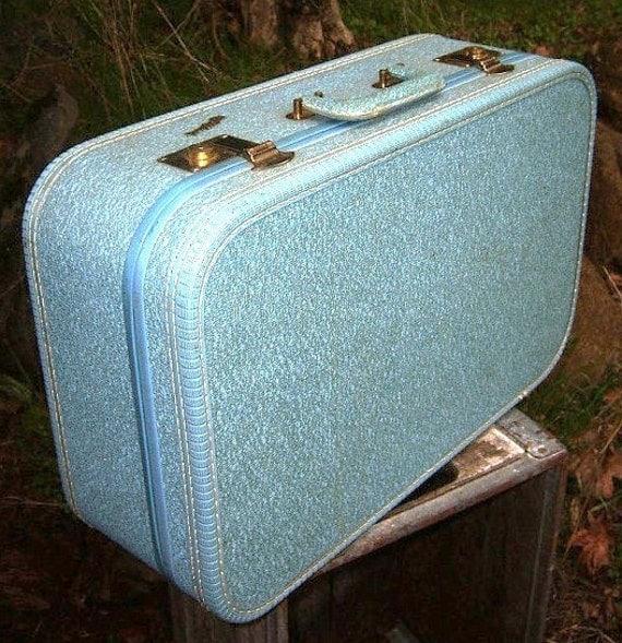 All My Bags are Packed - Vintage 1950s Mid Century Modern Retro Blue Tweed Vinyl JETSTAR Suitcase Satin Lining
