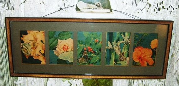 Vintage 1900s Victorian Cottage Pink Rose Botanical Floral Butterfly Still Life Painting Print Series Wall Print