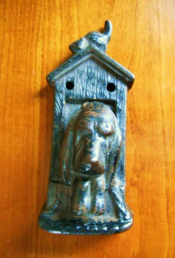 Architectural Vintage 1910-1920's Cast Iron Antique Victorian Figural Hound Dog Door Knocker in Dog House with Kitty and Bird