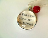 Twilight Necklace with Blood Red Charm / Book Page Jewelry