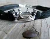 Black Leather Bracelet with Silver Tone Crown Charm  // Layering Bracelet // Leather Strap // Ships from U.S.A.