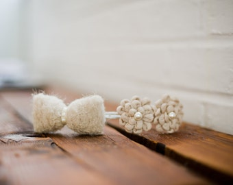 Crochet bow and flower little girl(S) headband Beige and Ivory  Sweet peas # 145HB