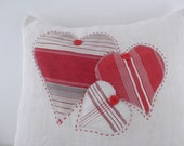 vintage FRENCH LINEN & vintage ticking HEART pillow.cushion