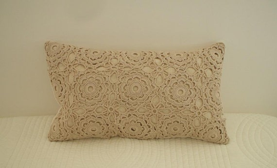 vintage FRENCH LINEN & handworked vintage french lace CROCHET  Accent pillow.cushion