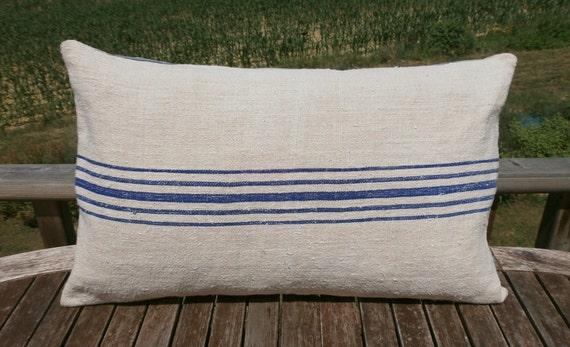 FRENCH LINEN GRAINSACK country farmhouse pillow.cushion, beach, coastal, blue stripes