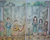 1945 Vintage Lithograph of a Children's Choir.  Illustrated  by Masha.  A Two Page Art Print of Children Singing on a Stage.
