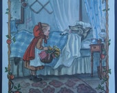 A Classic Little Red Riding Hood Vintage Illustration  from the 1969Tasha Tudor Book of Fairy Tales