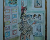 """Momma's Helper, a Lithograph Art Print by Masha That Illustrates the Hymn """"Brighten the Corner"""" from the 1945 Child's Book of Hymns"""