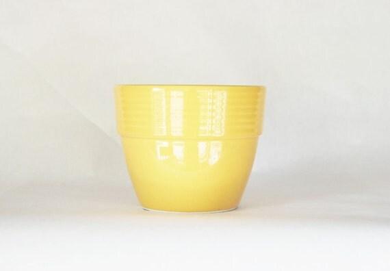 Yellow Ceramic Mixing Bowl Baking Kitchen Retro Bright Flower Pot Planter