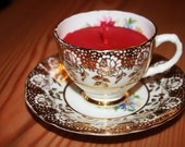 One Vintage Tea Cup scented orange & Cinammon candle -  Perfect for Christmas - Natural Soya wax