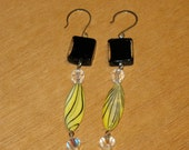 Long and Sexy-Swarovski Crystals, Black Lampwork Rectangular Glass Beads and Yellow Mopshell Long Oval Earrings