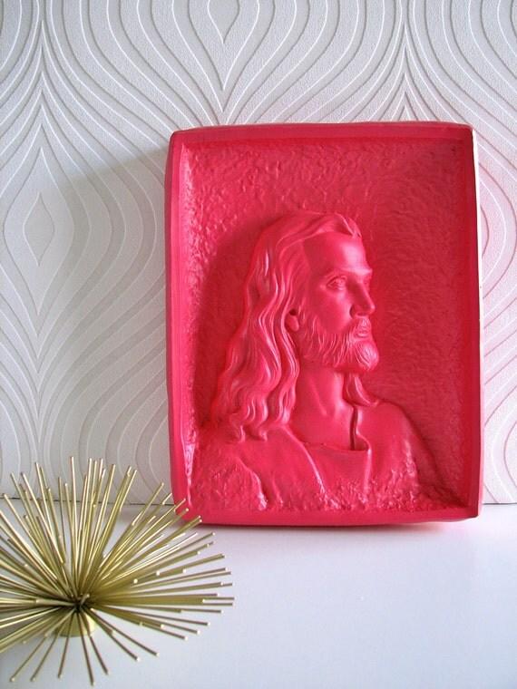 Jesus Wall Plaque in hot pink