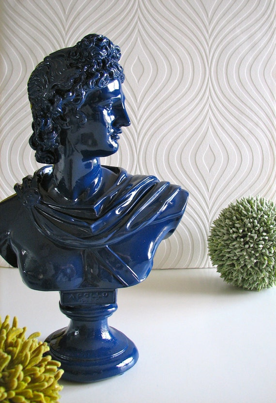 Apollo Bust Statue In Glossy Navy Blue By Mahzerandvee On Etsy