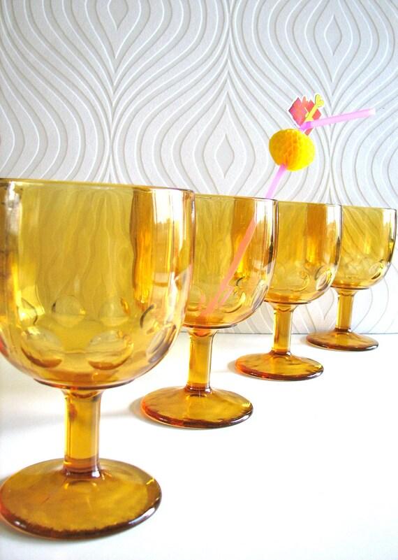 Set of 4 Vintage Goblets in Amber Colored glass