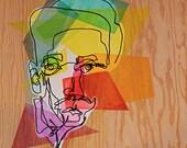 True Colors - Geometric Shape Blind Contour Original Painting on Wood Panel