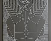 Geometric Anatomy Illustration - Original Line Drawing