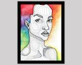Rainbow Hair - Original Geometric Watercolor Portrait
