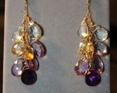 Amethyst, Citrine & Green Amethyst Briolette Earrings w 14K Goldfill Hooks