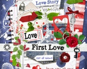 First Love - Digital Scrapbook Kit for scrapping, crafts or card making