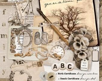 GENERATIONS PAST 01 ~ Digital Scrapbook Kit