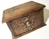 Aged wood  Spider Chest  box with mirror/ goth steampunk decor Gothic
