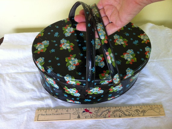 """Vintage Flower Cookie Tin Basket with Two Handles, 1950's, Metal Box, 11"""" X  8"""" X 4 1/4""""  Container Pail"""
