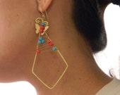 Geometric Earrings with Butterflies