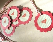 Gift Tag on recycled Cardstock - Red Robin handstamped bird, Garden party, birthday, label, christmas, shower