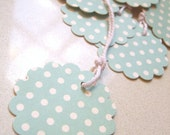 Gift Tag on Cardstock - Classic Vintage teal polkadot, party favor, weddings, engagement, birthday, wedding, baby shower
