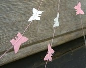 Butterfly paper garland - 1.5 metre (4.9 ft) Pale pink whisper and grey, Easter, Spring, Pastel party decor, girl bedroom home decor.