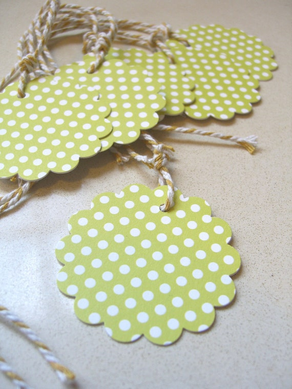 Christmas Gift Tag on Cardstock - a twist of fresh lime... polkadot spring green birthday wedding. Bakers twine, gift wrap, green mint