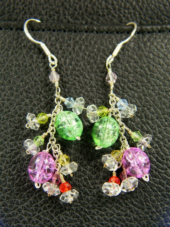 Clearance Sale - Multicolor Swarovski Crystal Cluster Earrings, Handmade Wire Wrapped Colorful Earrings, Sterling Silver French Hooks