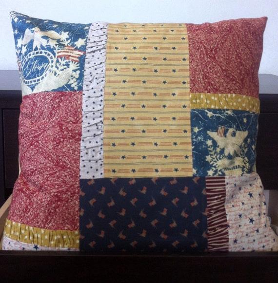 Decorative Primitive Pillows : Primitive Americana Decorative Block Pillow Cover 20X20