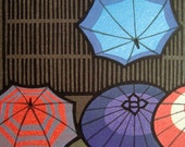 Reserved for michelleharvey3 Japanese Woodblock Print, After the Rain, umbrellas and such by Katsuyuki Nishima