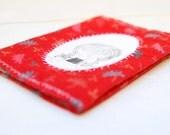 "Red Fabric Passport Cover ""Long Neck Girl"" Illustration"