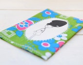 "Fabric Passport Holder Cover Green ""Amy Winehouse"" Illustration"