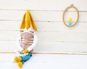 Handmade crochet  toy.Unique art doll.Yellow mustard rabbit Philip.Israel.