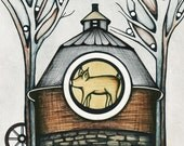 Circle Barn Illustration, Pig Art Print, Country Farm Poster, Beautiful Drawing of Winter Trees