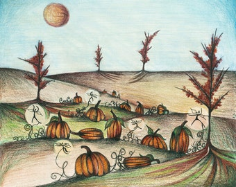 Pumpkin Patch Illustration, Whimsical Fairies, Drawing of Pumpkins in a Field, Colorful Autumn Art Print