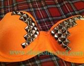 34C Neon Orange Strapless Bustier Bra Silver Studded