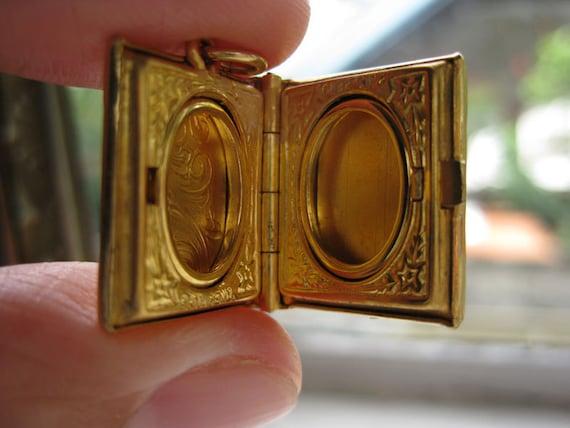 Tiny Gold Book Locket with Flower Design- Vintage