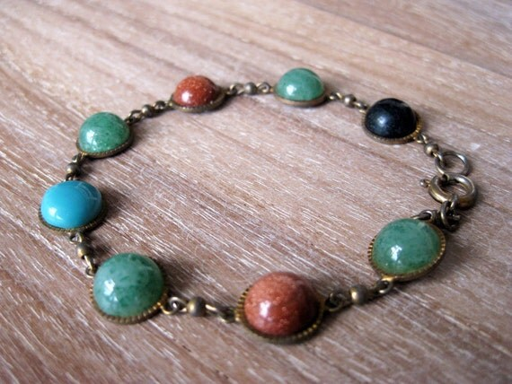 Vintage cabochon stones bracelet