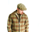 1970s LL Bean Mens Suede Newsboy Cap / Genuine Leather Mens Cap / Tan / Camel / Gift for Men / Size X Large