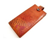 CLEARANCE SALE Vintage Embossed Genuine Leather Wallet with Woman and Design, Check Book Holder, Leather Pouch, Made in India
