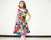SALE 80's Does 50's Tropical Floral Dress  / Prom Dress / NOS / NWT / Mini Dress  / Red Yellow Purple Black / Size  Medium