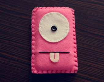 Felt Monster Phone or iPod Sock/Cover by BABUA - Hot Pink